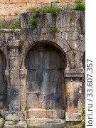 Architectural detail of the wall of Tatev Monastery, Armenia (2018 год). Стоковое фото, фотограф Константин Лабунский / Фотобанк Лори