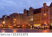 Wroclaw Market Square at twilight (2020 год). Редакционное фото, фотограф Яков Филимонов / Фотобанк Лори