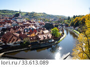 Купить «Cesky Krumlov, Czech Republic - October 12, 2019: Ancient historical houses in Cesky Krumlov. Czechia», фото № 33613089, снято 12 октября 2019 г. (c) Яков Филимонов / Фотобанк Лори