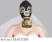 cyberpunk Bride in veil dress and protective gas mask and veil posing. Стоковое фото, фотограф katalinks / Фотобанк Лори