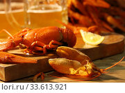 Купить «Crayfish with beer on a wooden table», фото № 33613921, снято 20 апреля 2020 г. (c) Марина Володько / Фотобанк Лори