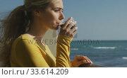 Caucasian woman self isolating at home during coronavirus covid19 pandemic. Стоковое видео, агентство Wavebreak Media / Фотобанк Лори