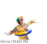 Купить «Funny clown isolated on white background», фото № 33621793, снято 28 сентября 2018 г. (c) Elnur / Фотобанк Лори