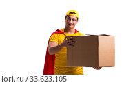 Купить «Super hero delivery guy isolated on white», фото № 33623105, снято 23 декабря 2016 г. (c) Elnur / Фотобанк Лори
