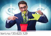 Купить «Businessman in new business concept», фото № 33623129, снято 27 мая 2020 г. (c) Elnur / Фотобанк Лори