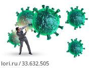 The businessman in fear of recession due to coronavirus. Стоковое фото, фотограф Zoonar.com/Elnur Amikishiyev / easy Fotostock / Фотобанк Лори