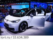 Купить «Volkswagen ID.3», фото № 33634389, снято 17 сентября 2019 г. (c) Art Konovalov / Фотобанк Лори
