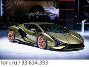 Купить «Lamborghini Sian FKP 37», фото № 33634393, снято 17 сентября 2019 г. (c) Art Konovalov / Фотобанк Лори
