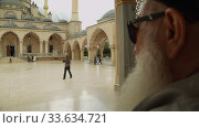 Grozny, Chechnya, Russia - September 30, 2019: Main mosque of the Chechen Republic - Heart of Chechnya. Редакционное видео, видеограф Aleksandr Lutcenko / Фотобанк Лори
