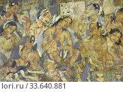 India, Maharashtra, World Heritage Site, Ajanta, Cave 1 (6th C), Mahajanaka Jataka tale. Departure of King Mahajanaka, previous incarnation of Buddha,. (2020 год). Редакционное фото, фотограф Christophe Boisvieux / age Fotostock / Фотобанк Лори