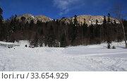 Купить «Beautiful mountains covered with snow. Sunny day and blue sky on a frosty day», видеоролик № 33654929, снято 5 марта 2019 г. (c) Олег Хархан / Фотобанк Лори