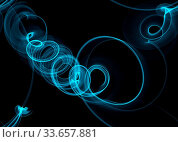 Купить «Glowing blue curved lines and sircles over dark Abstract Background. seamless Illustration pattern», фото № 33657881, снято 28 мая 2020 г. (c) age Fotostock / Фотобанк Лори