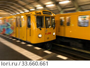 Berlin, Germany, subway line 1 at Hallesches Tor station. Редакционное фото, агентство Caro Photoagency / Фотобанк Лори