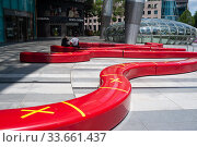 Купить «Singapore, Republic of Singapore, Safe Distancing Measures by means of taped areas on seat beams», фото № 33661437, снято 2 апреля 2020 г. (c) Caro Photoagency / Фотобанк Лори