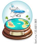 Купить «Vector Cartoon Summer Crystal Ball», иллюстрация № 33661981 (c) Александр Володин / Фотобанк Лори