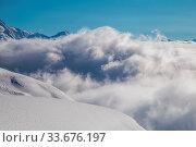 Купить «Snowy winter French Alps, ski resort Flaine, Grand Massif area within sight of Mont Blanc, Haute Savoie, France», фото № 33676197, снято 2 июня 2020 г. (c) easy Fotostock / Фотобанк Лори