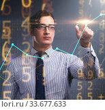 Купить «BUsinessman pressing virtual button on diagram chart», фото № 33677633, снято 3 августа 2020 г. (c) Elnur / Фотобанк Лори