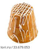 """Купить «Пирожное """"Муравейник"""" из сгущенного молока, печенья и грецких орехов на белом фоне», фото № 33679053, снято 1 мая 2020 г. (c) Румянцева Наталия / Фотобанк Лори"""