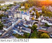 Landscape of Indre-et-Loire department with Chateau de Langeais (2018 год). Стоковое фото, фотограф Яков Филимонов / Фотобанк Лори