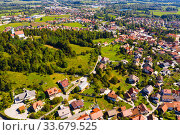 Picturesque top view of city Vrhnika. Republic of Slovenia (2019 год). Стоковое фото, фотограф Яков Филимонов / Фотобанк Лори