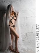Купить «Woman in the nude in bdsm style full-length shot», фото № 33682377, снято 19 марта 2020 г. (c) Гурьянов Андрей / Фотобанк Лори