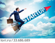 Купить «The businessman in start-up concept flying on rocket», фото № 33686689, снято 30 мая 2020 г. (c) easy Fotostock / Фотобанк Лори