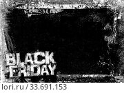 Black Friday Grunge Background with grungy frame and remains of scotch tape and cellophane. Fully editable. Dirty artistic design element, box, frame for text. Doodle frame. Стоковое фото, фотограф Zoonar.com/Germano Poli / easy Fotostock / Фотобанк Лори