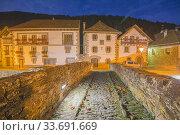 Купить «The picturesque village of Ochagavía, right in the middle of Navarre's Eastern Pyrenees Spain Nightscape.», фото № 33691669, снято 15 октября 2016 г. (c) age Fotostock / Фотобанк Лори