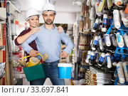 pair in helmet with paint and instruments. Стоковое фото, фотограф Яков Филимонов / Фотобанк Лори