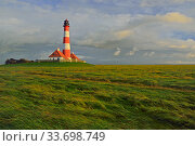 Westerhever lighthouse, St. Peter Ording, Schleswig-Holstein Wadden Sea National Park, Germany, September. Стоковое фото, фотограф Sandra Bartocha / Nature Picture Library / Фотобанк Лори