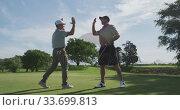 Купить «Caucasian male golfers reaching down a ball out of the hole on a golf course on a sunny day», видеоролик № 33699813, снято 4 ноября 2019 г. (c) Wavebreak Media / Фотобанк Лори
