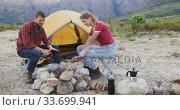 Caucasian couple camping in nature. Стоковое видео, агентство Wavebreak Media / Фотобанк Лори