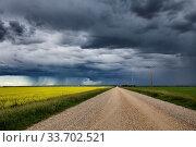 Купить «Prairie Storm Clouds in Saskatchewan Canada rural setting», фото № 33702521, снято 2 июня 2020 г. (c) age Fotostock / Фотобанк Лори