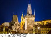 Mala Strana Bridge Tower at Charles Bridge in Prague, Czech Republic (Night view) Стоковое фото, фотограф Владимир Журавлев / Фотобанк Лори