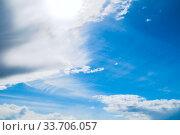 Купить «Dramatic blue sky background. Picturesque colorful clouds lit by sunlight», фото № 33706057, снято 28 апреля 2018 г. (c) Зезелина Марина / Фотобанк Лори