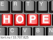 Купить «Hope button on modern computer keyboard image with hi-res rendered artwork that could be used for any graphic design.», фото № 33707825, снято 16 июля 2020 г. (c) age Fotostock / Фотобанк Лори