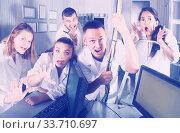 men and women having fun in escape room. Стоковое фото, фотограф Яков Филимонов / Фотобанк Лори