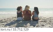 Купить «Rear view of mixed race friends talking in front of the sea», видеоролик № 33712129, снято 25 февраля 2020 г. (c) Wavebreak Media / Фотобанк Лори