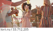 Купить «Friends enjoying a party on the beach », видеоролик № 33712205, снято 25 февраля 2020 г. (c) Wavebreak Media / Фотобанк Лори
