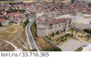 Купить «Aerial view of Cuellar Castle in Segovia Province, Leon, Spain», видеоролик № 33716365, снято 20 июня 2019 г. (c) Яков Филимонов / Фотобанк Лори