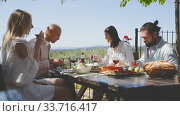 Купить «Friends dinner al fresco. Group of happy adult people sitting together at table outdoors in country house, eating are smiling», видеоролик № 33716417, снято 26 апреля 2019 г. (c) Яков Филимонов / Фотобанк Лори