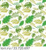 Seamless pattern of palm and tropical leaves. Стоковая иллюстрация, иллюстратор Миронова Анастасия / Фотобанк Лори