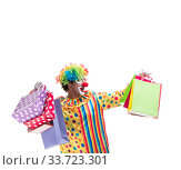 Купить «Funny clown isolated on white background», фото № 33723301, снято 28 сентября 2018 г. (c) Elnur / Фотобанк Лори