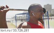 Купить «Side view man with prosthetic leg exercising», видеоролик № 33726281, снято 13 февраля 2020 г. (c) Wavebreak Media / Фотобанк Лори