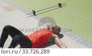 Купить «Side view man with prosthetic leg lying down», видеоролик № 33726289, снято 13 февраля 2020 г. (c) Wavebreak Media / Фотобанк Лори