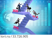 Купить «Businessman climbing stairs on yearly basis», фото № 33726905, снято 14 мая 2020 г. (c) Elnur / Фотобанк Лори