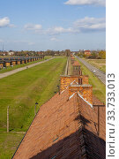 Купить «View of the wooden barracks at the Birkenau concentration camp which was operated by Nazi Germany in occupied Poland during World War II and the Holocaust.», фото № 33733013, снято 30 октября 2008 г. (c) age Fotostock / Фотобанк Лори