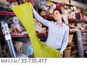 Smiling woman customer looking colorful carpet. Стоковое фото, фотограф Яков Филимонов / Фотобанк Лори