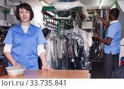 Купить «Female administrator of laundry at reception», фото № 33735841, снято 15 января 2019 г. (c) Яков Филимонов / Фотобанк Лори