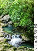Купить «Водопады на реке в Абхазии», фото № 33736145, снято 17 июня 2019 г. (c) Евгений Ткачёв / Фотобанк Лори